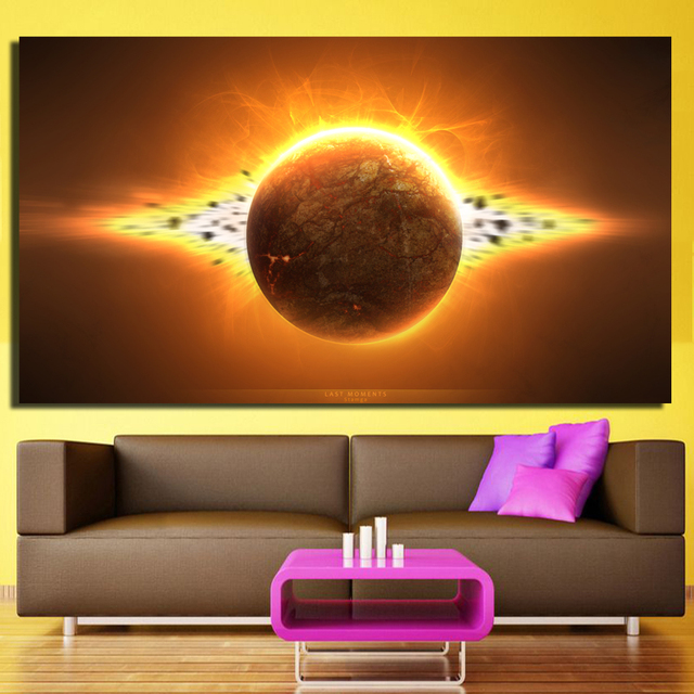 picture outer space amazing planet painting for living room modern