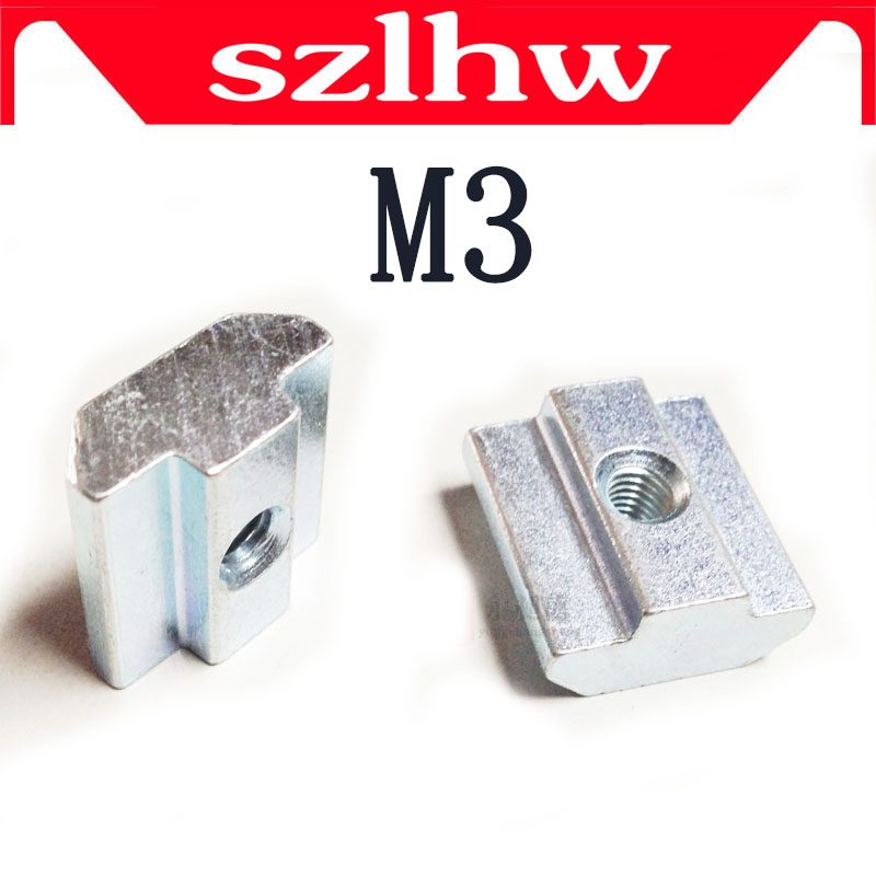 High quality 50pcs M3 T Sliding Nut Block Square nuts for 2020 Aluminum Profile Slot 6 Aluminum connector Accessor