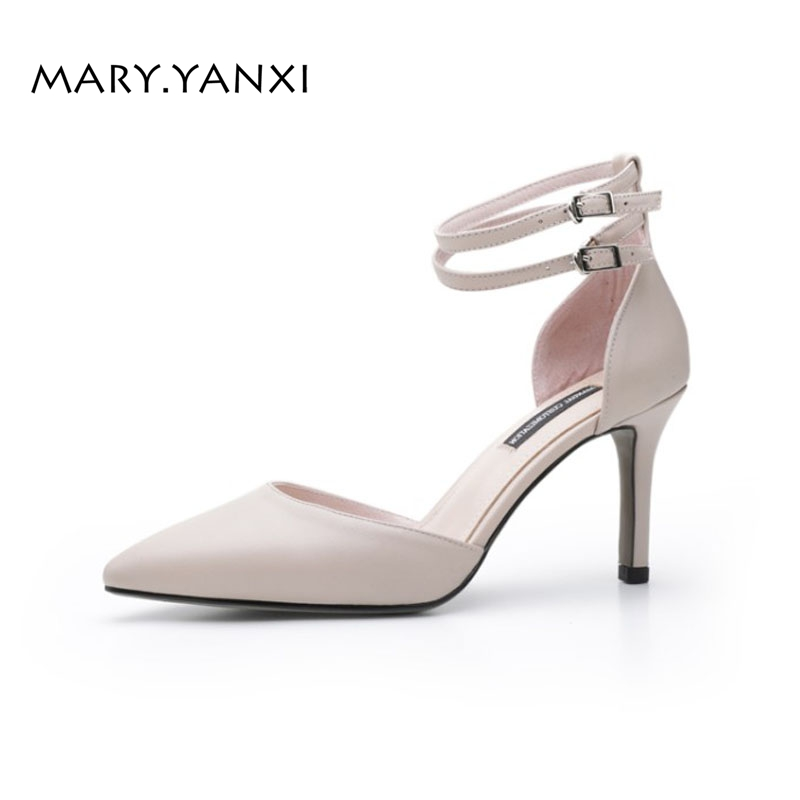 Women Pumps Big Size Shoes Mary Janes Genuine Leather Buckle Strap High Thin Heels Pointed Toe Casual Leisure Fashion Shallow universe women s shoes genuine leather wedges shallow mouth pointed toe buckle strap e073