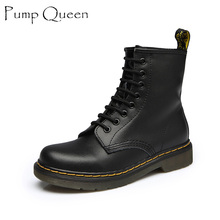 Women Ankle Boots 2016 Spring Fall Genuine Leather Lace Up Land Shoes Punk White Black Colors Men Plus Size 42 44 zapatos mujer