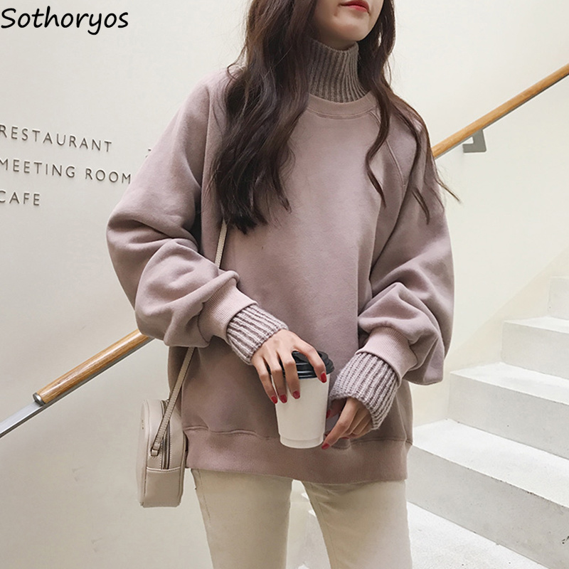 Hoodies Women 2019 Turtleneck Thicker Plus Velvet Warm All-match Pullovers Womens Korean Style Kawaii Trendy Elegant Clothing