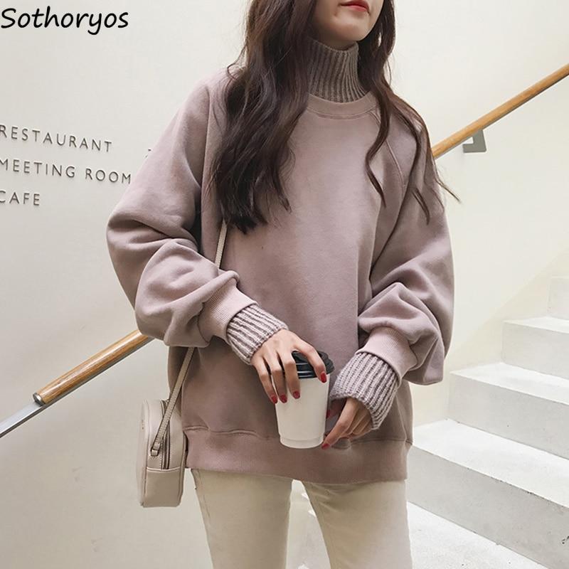 Hoodies Women 2019 Turtleneck Thicker Plus Velvet Warm All-match Pullovers Womens Korean Style Kawaii Trendy Elegant Clothing