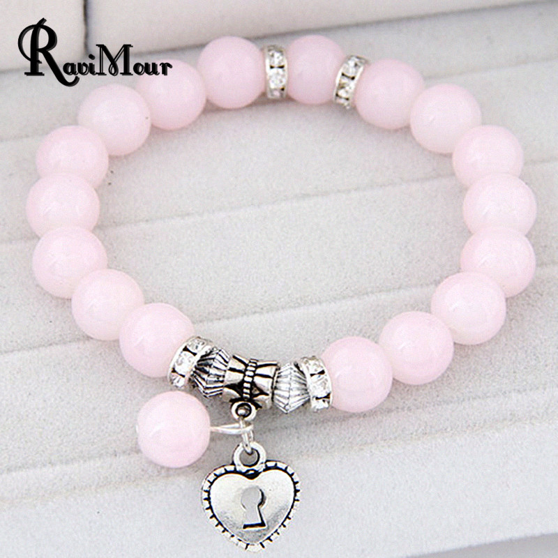 Pulseras Mujer Masculina Glass Beads Bracelets & Bangles for Women Men Jewelry Silver Color arm Pulseira Femme Bijoux