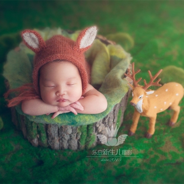 Knit Mohair Soft Fox Hat Crochet Animal Bonnet Newborn Hat Photography  Props Knitted Baby Girl Boy Hat Infant Cap Photo Prop 5fc4691a45b2