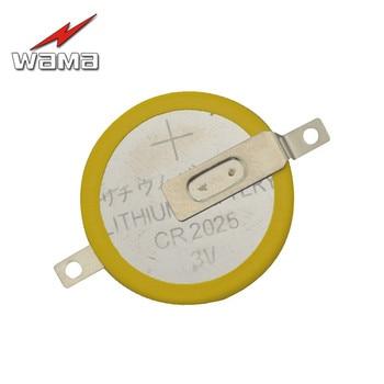 50pcs/lot Wama CR2025 Button Cell Batteries 3V 2 Feet Welding Solder Pins Accessories Coin battery 180 degree Customized Made