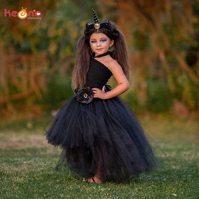 2807e452b995 Stunning Black Unicorn Baby Tutu Dress Flower Girls Pageant Gown ...
