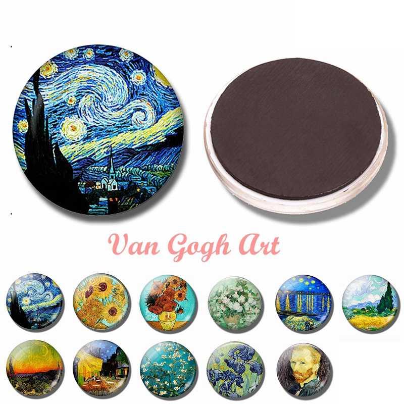 Van Gogh arte 30 MM imán de nevera la cúpula de cristal estrellada de noche Iris girasoles Rosa árbol de almendra pegatinas magnéticas para refrigerador