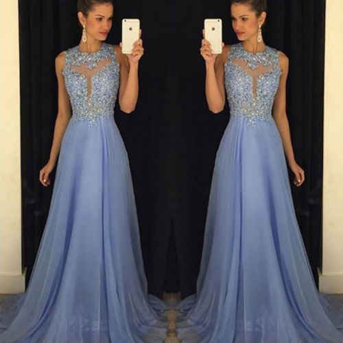 e6bc1d8d6c 2018 Summer Women Formal Wedding Wear Long Night Party Long Dress Light  Blue Sleeveless See Through Tulle Dress