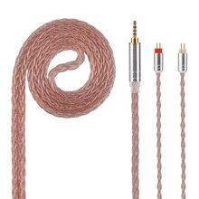 Kinboofi 8 Core с серебряным покрытием Медь кабель 2,5/3,5/4,4 мм балансный кабель с MMCX/2pin разъем для KZ ZS10 LZ A5 HQ5 HQ6 QT2