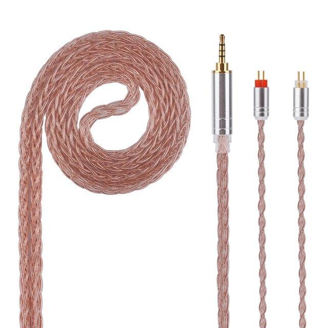 Kinboofi 8 núcleo de cobre Chapado en plata Cable 2,5/3,5/4,4mm equilibrado Cable con MMCX/2pin conector para KZ ZS10 LZ A5 HQ5 HQ6 QT2