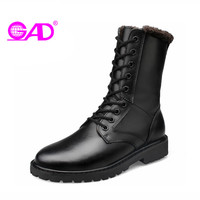 GAD Genuine Leather Shoes Women Boots Winter Warm Plush Comfortable Women Mid Calf Boots Fashion Couple