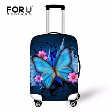 Fashion Waterproof Spandex Butterfly Printing Travel Luggage Cover Elastic 18-30 inch Anti-dust Suitcase Cover with Zipper