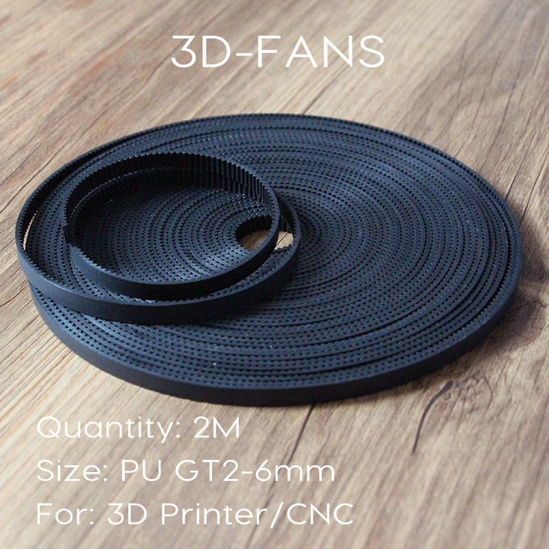 1M 2M 3M 5M/lot PU With Steel Core GT2 Belt Black Color 2GT Timing Belt 6mm Width For 3d Printer Free Shipping