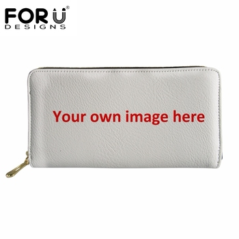 FORUDESIGNS Benutzerdefinierte Bilder oder Logo Brieftasche Frauen Mode Leder Geldbörse Multifunktions mit Zipper Geld Taschen portefeuille femme