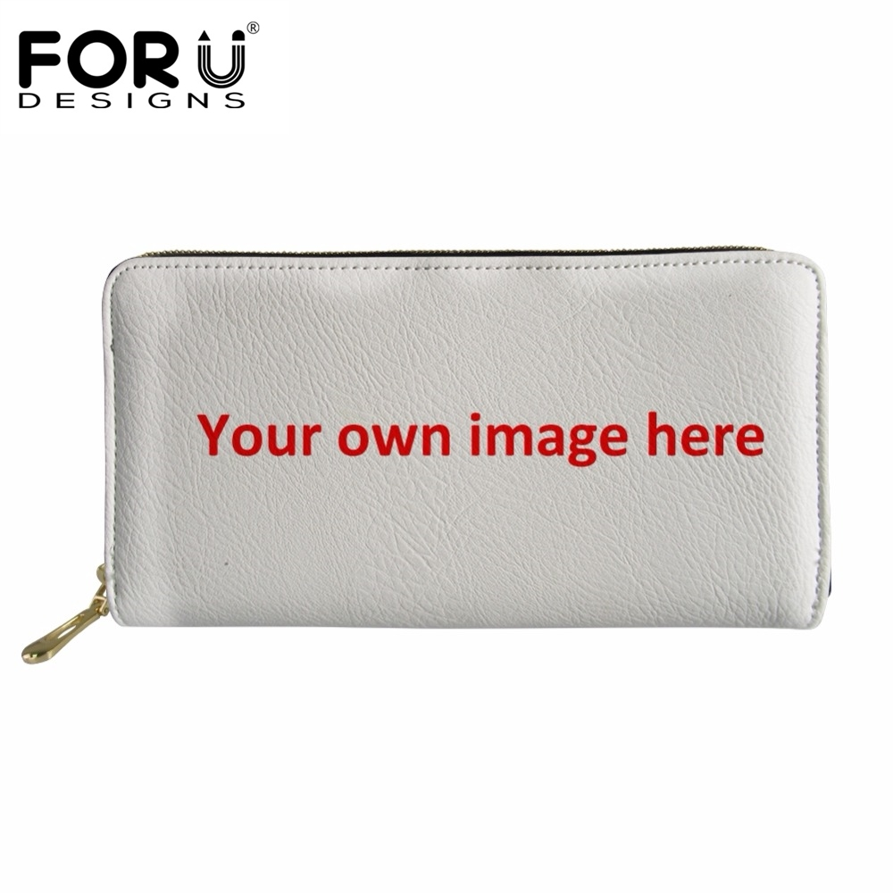 FORUDESIGNS Custom Images Or Logo Wallet Women Fashion Leather Purse Multifunction With Zipper Money Bags Portefeuille Femme