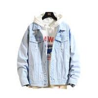 2019 Chaqueta de mezclilla para Hombre Chaqueta de bombardero Casual para Hombre de alta calidad Chaqueta de Jean Vintage abrigo de calle Chaqueta Hombre 3XL