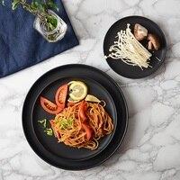 Japan und Südkorea stil matte keramikplatten pasta pizza Pan runde haushalt pendel frühstück fach kuchen schwarz flache platte