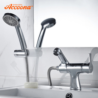 Accoona Basin Faucet Shower Haed Tap Cold And Hot Handle Bathroom Faucets Bottom Horizontal Basin Chrome Basin Faucets A9790