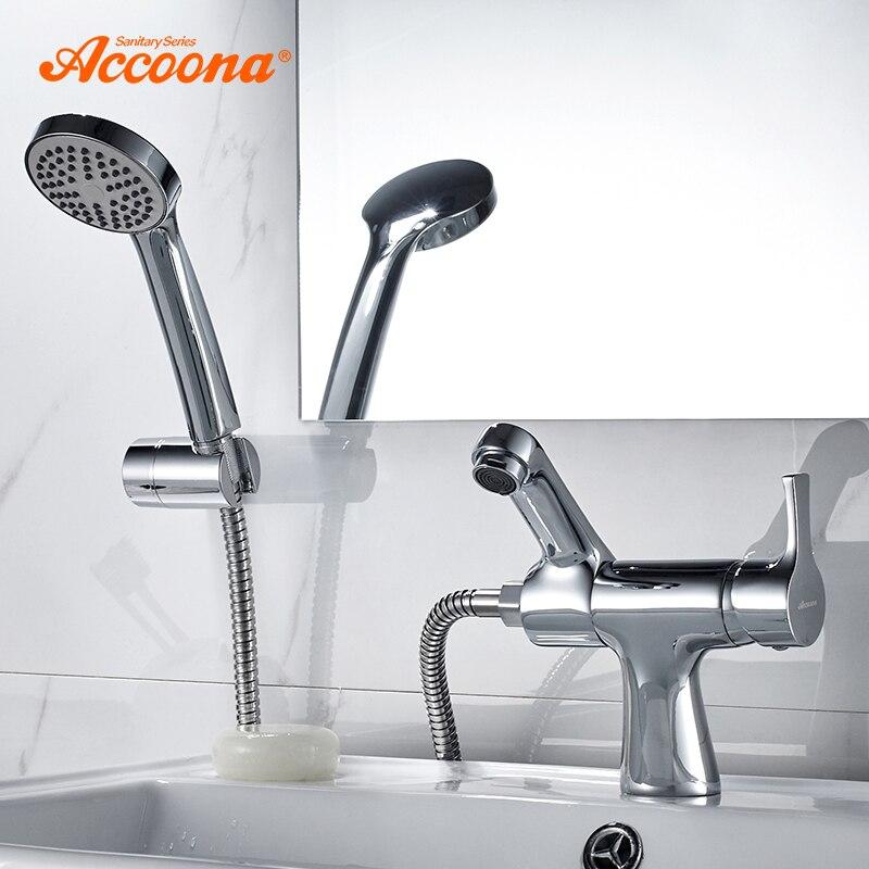 Accoona Becken Wasserhahn Dusche Haed Tap Kalten Und Heißer Griff Bad Armaturen Untere Horizontale Becken Chrom Waschbecken Armaturen A9790