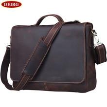 Men Briefcase Fit For 13 inch Laptop Excelent Genuine Leather Vintage Cowhide Tote Business Handbag Shoulder Bag PR581062