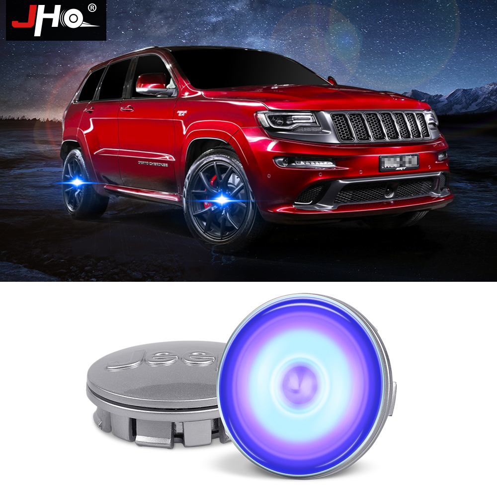 JHO 62mm/55mm Magnetic Levitation Wheel Center Cap LED Hub Cover Lamp For Jeep Grand Cherokee Patriot 2014 15 16 17 Car Styling