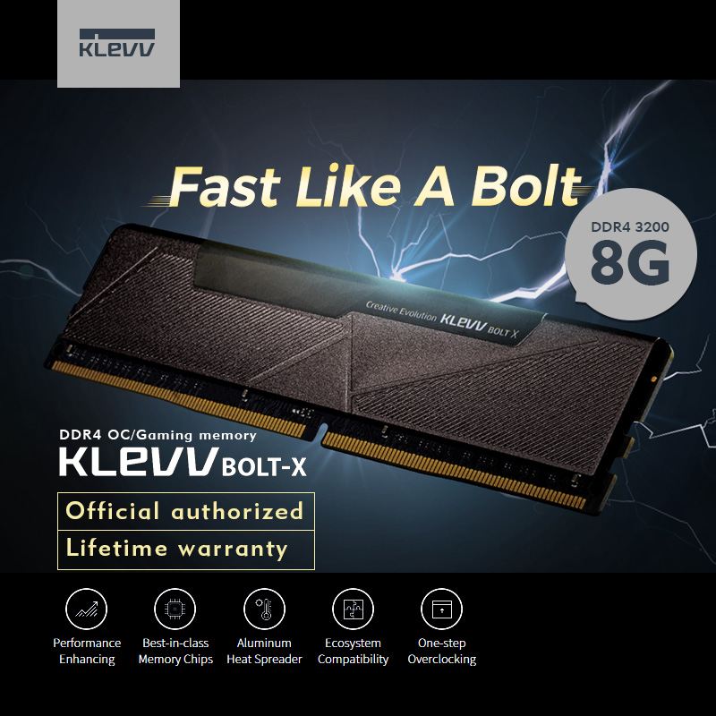 Klevv BOLT -X PC Desktop 8GB DDR4  3200 8G  3200Mhz ram Module memory Intel XMP2.0 DDR4 Gaming momory