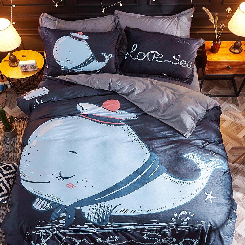 Luxury Bedding Set Crystal Velvet Bed Linen Twin Queen Size Blue Whale Duvet Cover Set Pillowcase Bed Sheet 3stylesLuxury Bedding Set Crystal Velvet Bed Linen Twin Queen Size Blue Whale Duvet Cover Set Pillowcase Bed Sheet 3styles