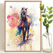 Watercolor Rainbow Horse Decorative Painting Nordic Dream Animal Modern Simple Wall Art Pictures For Living Room By Number