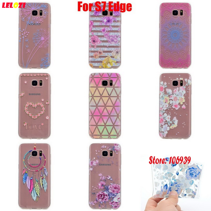 LELOZI Art Vintage Soft Transparent TPU Clear Silicone Fundas Coque Case Cover Capa For Samsung Galaxy S7 Edge Green Flower Rose