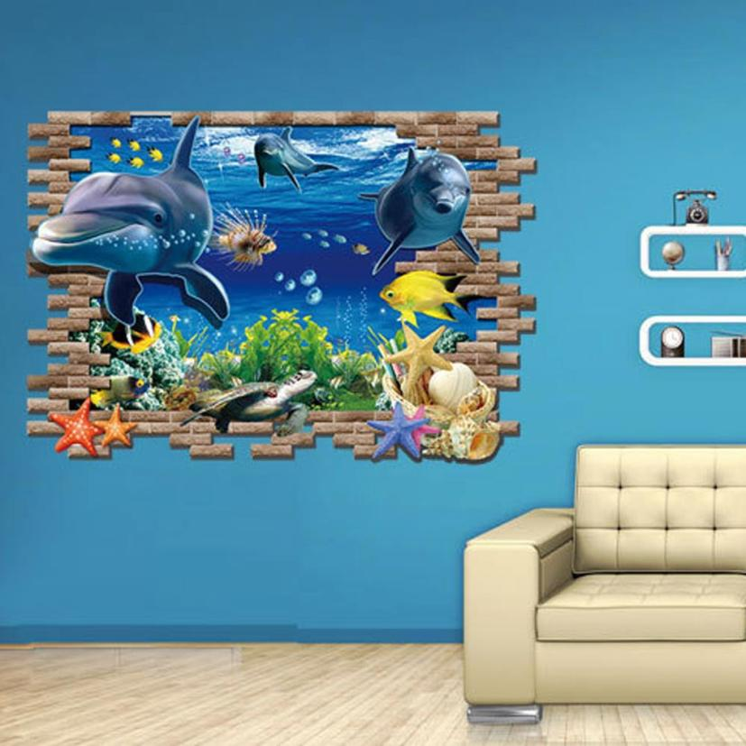 Aliexpress.com : Buy Home Decor 3D Under The Sea Wall Sticker 60*90cm Blue  Sea World Animal Wall Sticking Poster Drop Shipping On Sale D35M31 From  Reliable ... Part 45