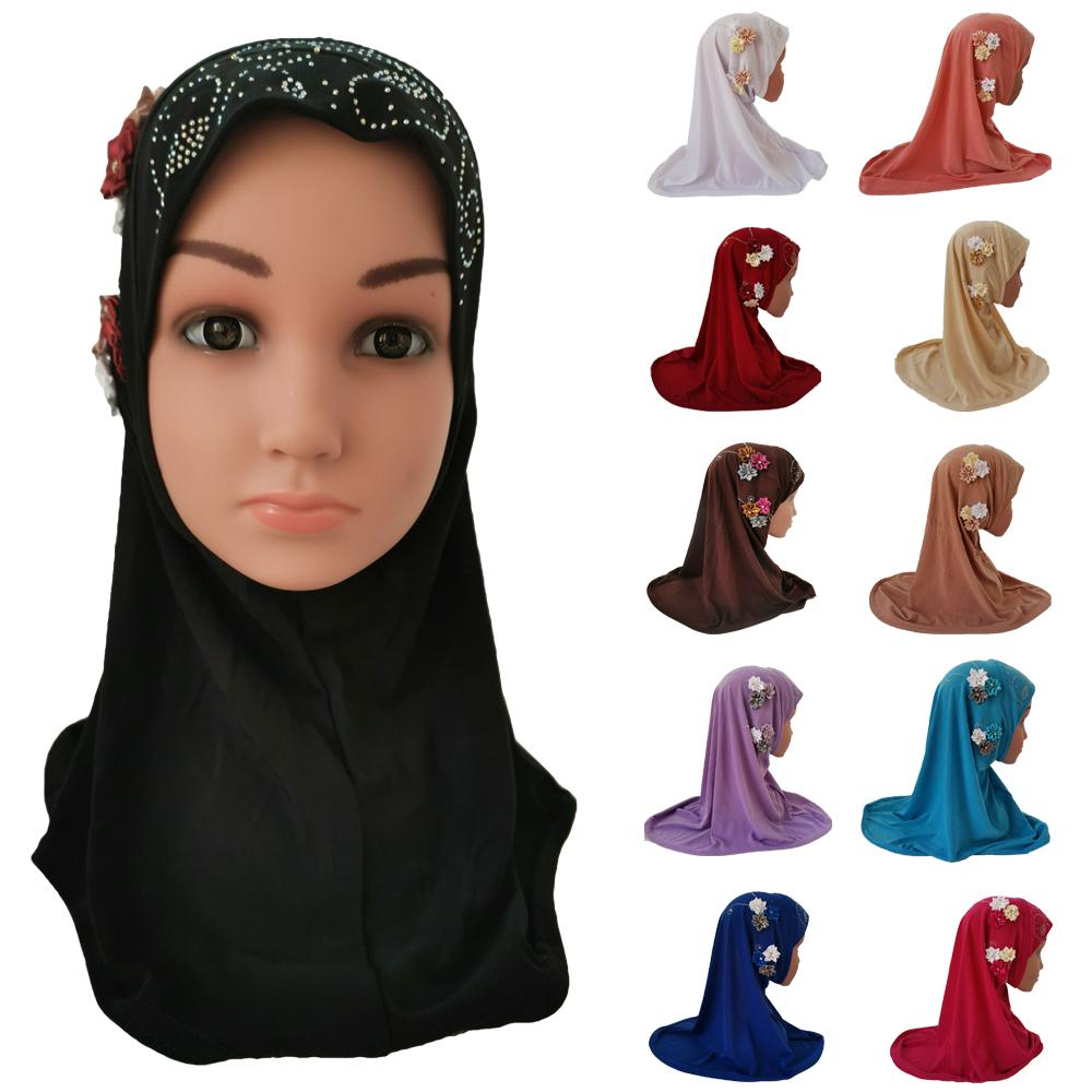 Girls Kids Muslim Hijab Islam Arab Scarf Shawls Flowers Headscarf Arab Caps Ramadan School Rhinestone Child Headwear Hat Fashion
