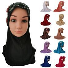 Hiyab musulmán para niñas y niños, bufanda islámica árabe, pañuelo para la cabeza con flores, gorros árabes, sombreros para niños con diamantes de imitación para escuela de Ramadán