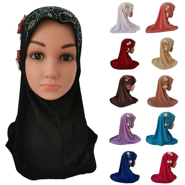 Meisjes Kids Moslim Hijab Islam Arabische Sjaal Sjaals Bloemen Hoofddoek Arabische Caps Ramadan School Strass Kind Hoofddeksels Hoed Mode