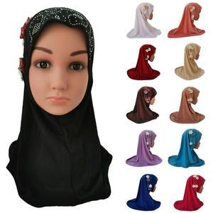Image 1 - Ragazze I Bambini Musulmani Hijab Islam Arabo Sciarpa Scialli Fiori Foulard Arabo Caps Ramadan Scuola di Strass Bambino Copricapi Cappello di Moda
