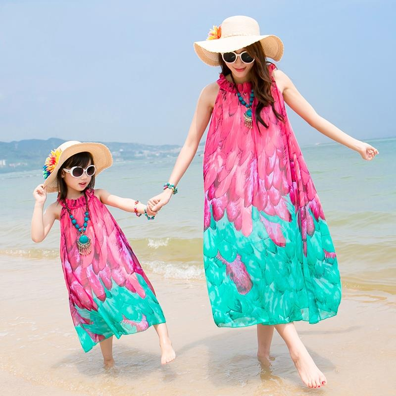 Free shipping summer mother daughter dresses sleeveless beach dress Red Blue chiffon belt long dress beautiful party dress
