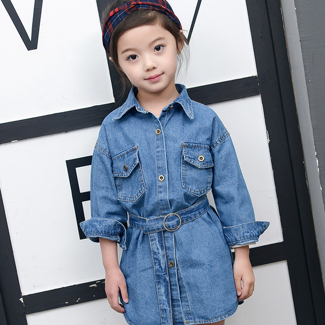 Kids Girls Denim Dress With Belt Children Girls Jackets And Coats
