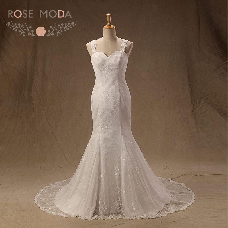 Buy lace mermaid wedding dresses cap for Buy back wedding dresses