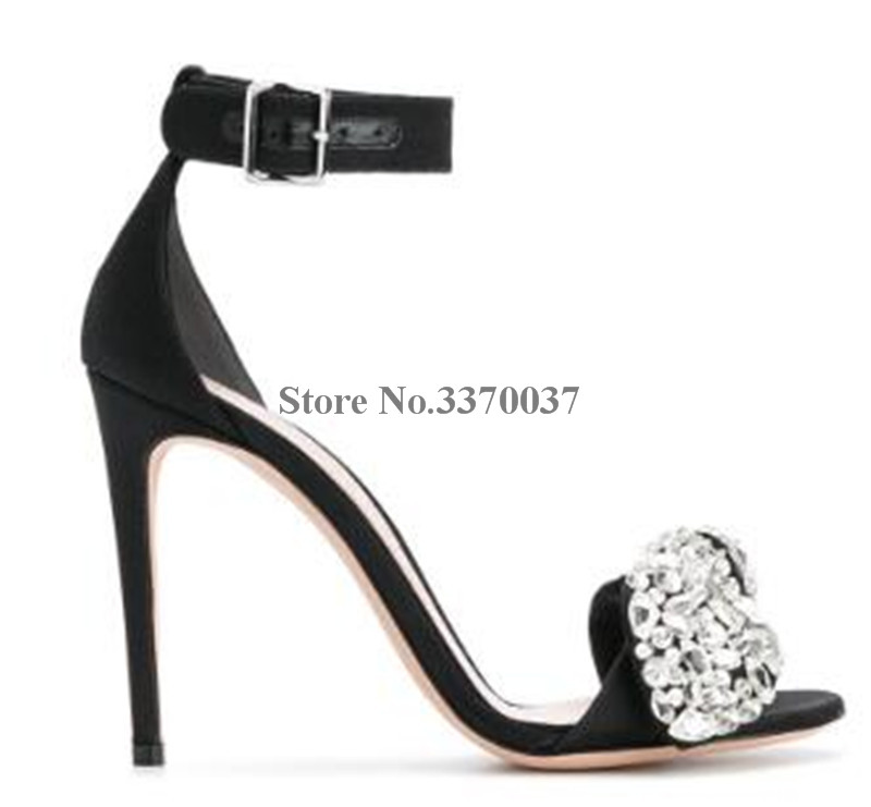 Women Luxury Bling Bling Open Toe Suede Leather Rhinestone Thin Heel Sandals Ankle Straps Crystal High Heel Sandals Dress Shoes