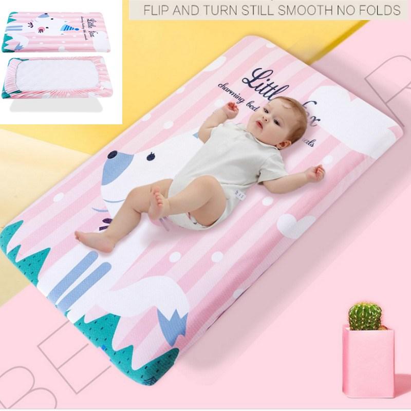 130*70 Cm Reine Baumwolle Baby Krippe Matratze Abdeckung Baby Bett Ausgestattet Bettwäsche Cartoon Wickelt Pad Infant Weiche Atmungs Bett Linie HöChste Bequemlichkeit