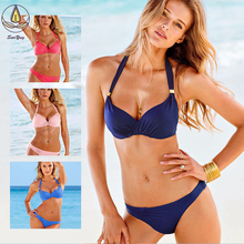 цены New Hot Sexy Bikinis Women Swimsuit Push Up Bikini Set Beach Wear Retro Vintage Bathing Suits Halter Top Plus Size Swimwear