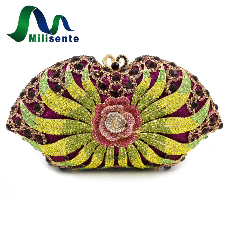 Milisente New Women Clutches Luxury Evening Bags Flower Crystal Clutch Wedding Bag Party Purse And Handbags With Chain 2017 luxury flower evening bag handmade diamond clutch bags women crystal butterfly handbags party velvet clutches purses jxy784