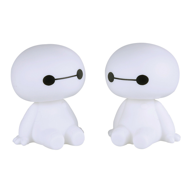 Cartoon Plastic Baymax Robot Shaking Head Figure Car Ornaments Auto Interior Decorations Big Hero Toys Ornament Car-Styling
