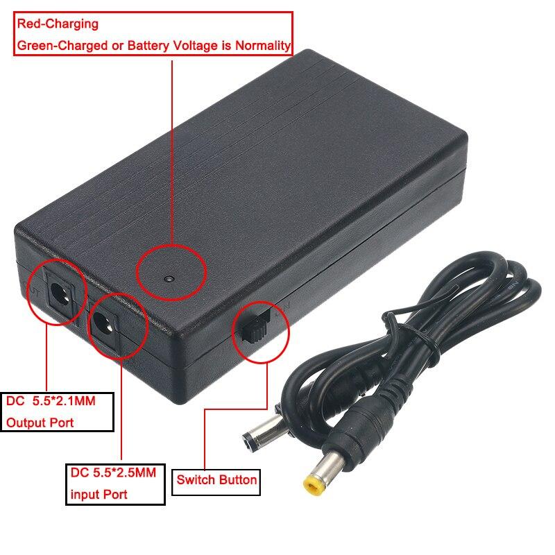 12V 2A 22.2W UPS ininterrompu alimentation de secours Mini batterie pour caméra routeur 111x60x26mm
