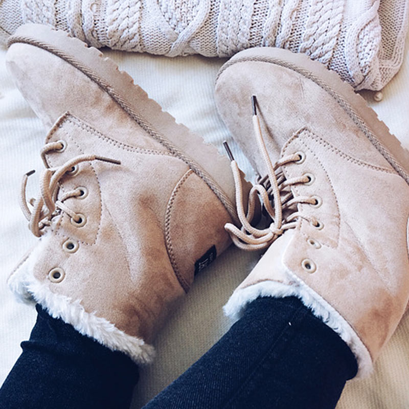 Women Winter Boots Suede Snow Ankle Boots Female Warm Winter Shoes Woman Round Toe Botas Mujer snow winter boots women ankle boots lace up bottines femme platform shoes woman warm female round toe suede flock botas mujer