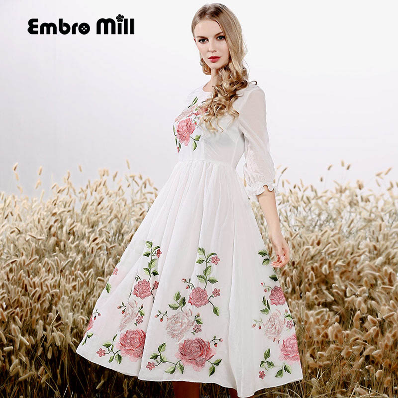cbc2bc94a8b55 High end spring and summer women Chinese style floral midi dress ...