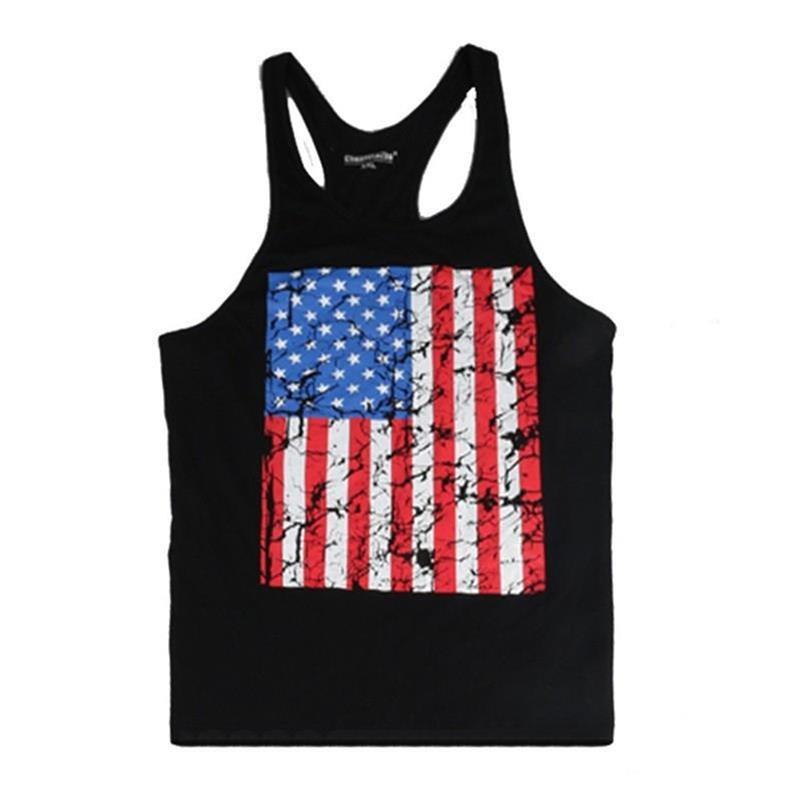 58f315c9d6b91 ... American Flag Fitness Gyms Singlets Bodybuilding Tank Tops Muscle Vest  Stringer Sleeveless Shirt Tees.   