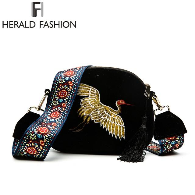 Herald Fashion Mini Velvet Embroidery Crane Shell Bag Wild Strap Fashion Shoulder Bags Designer Tassel Vintage Crossbody Bag