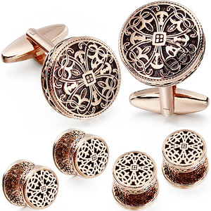 Image 2 - HAWSON Vintage Cufflinks and Tuxedo Shirt Studs for Men Retro Flower Pattern   Best Wedding Business Gifts for Men with Box