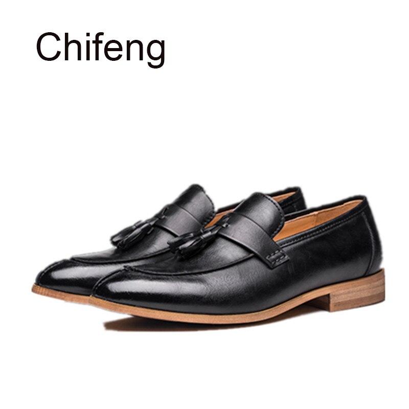 Мужская обувь из натуральной кожи мужская повседневная обувь 2017 весна осень новый британский стиль кончик кисточки низкий, чтобы помочь мужская обувь
