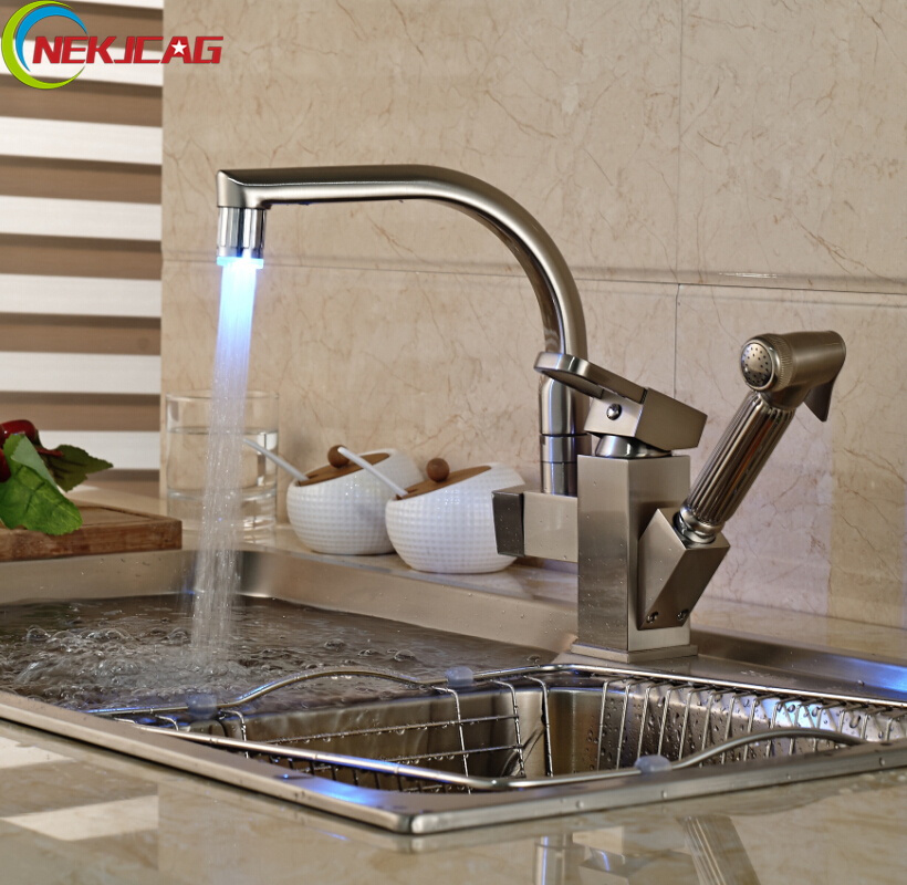 Free Shipping Brushed Nickel LED Light Kitchen Mixer Faucet Deck Mounted Side-sprayer Double Spout Hot and Cold Water Taps